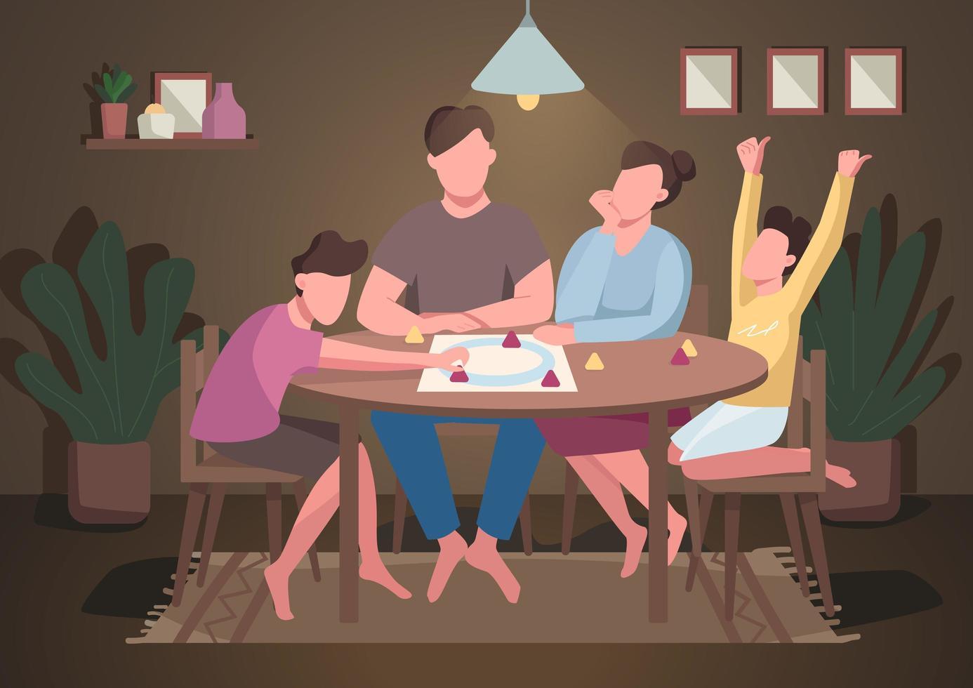 jeu de société en famille vecteur