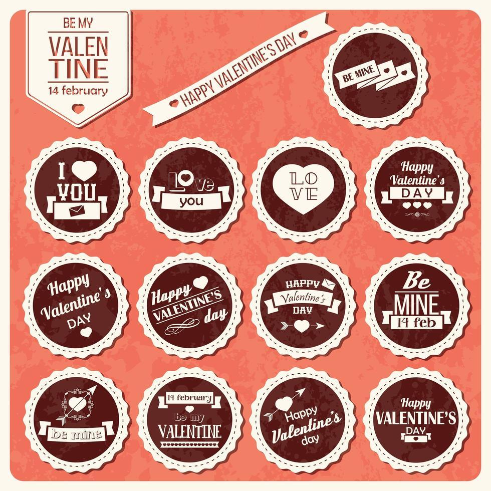 collection d'étiquettes vintage saint valentin vecteur