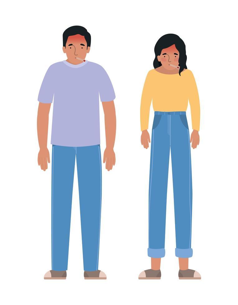avatar homme et femme avec un design de fièvre vecteur