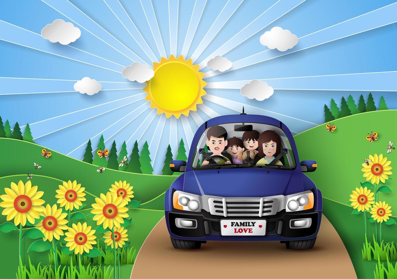 famille conduisant en voiture. vecteur