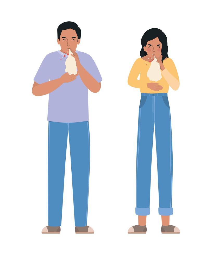 avatar femme et homme avec le virus covid 19 vecteur