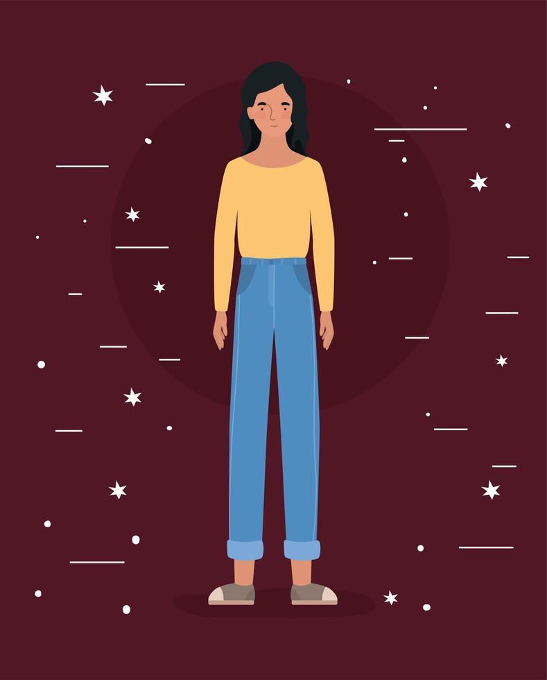 avatar, femme, à, étoiles, conception vecteur