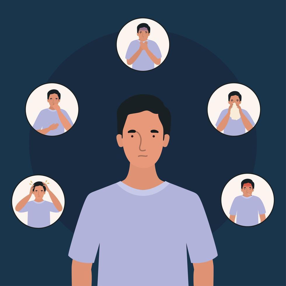 avatar homme avec conception des symptômes du virus ncov 2019 vecteur