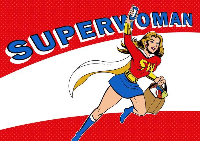 Superwoman dans un style pop rétro vecteur