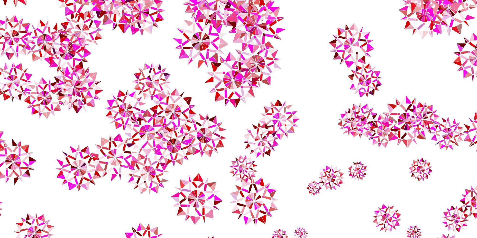 mise en page violet clair, rose avec de beaux flocons de neige. vecteur