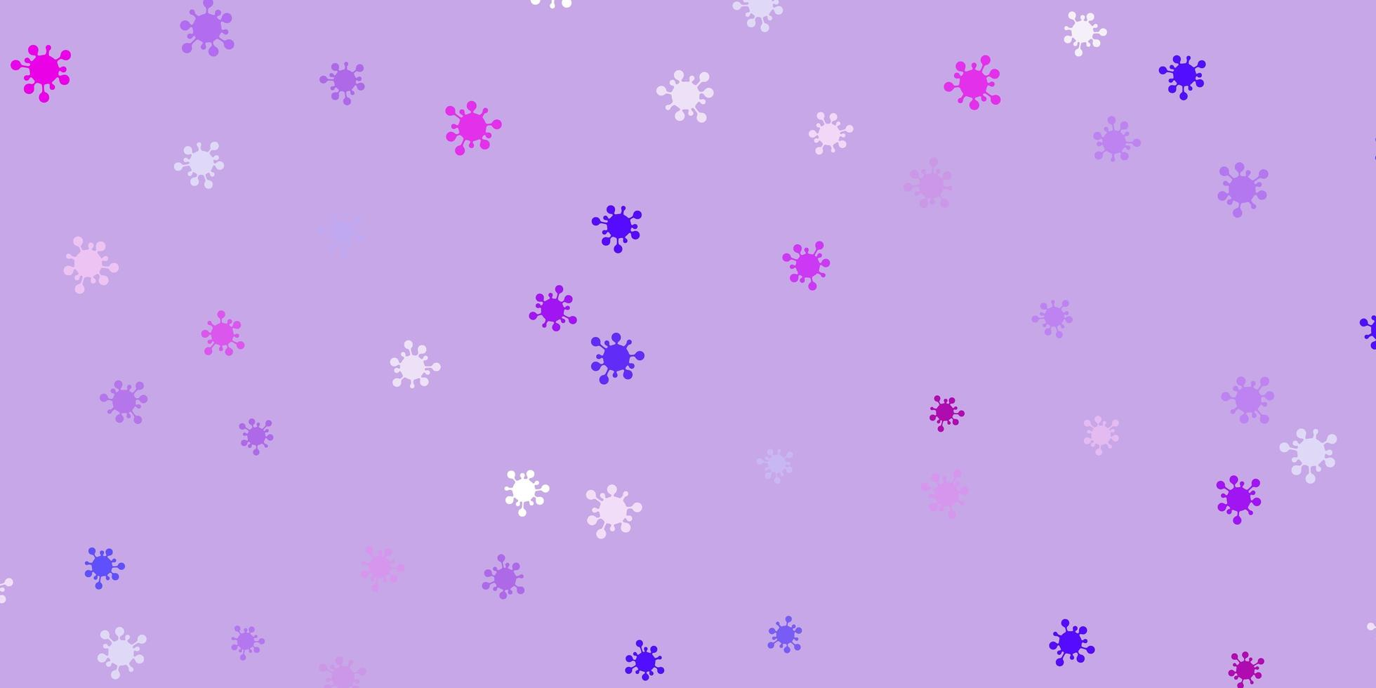 fond violet clair, rose avec symboles covid-19. vecteur