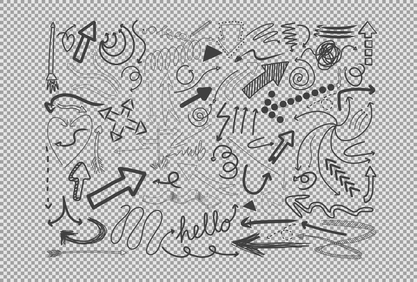 différents traits de doodle isolés sur fond transparent vecteur