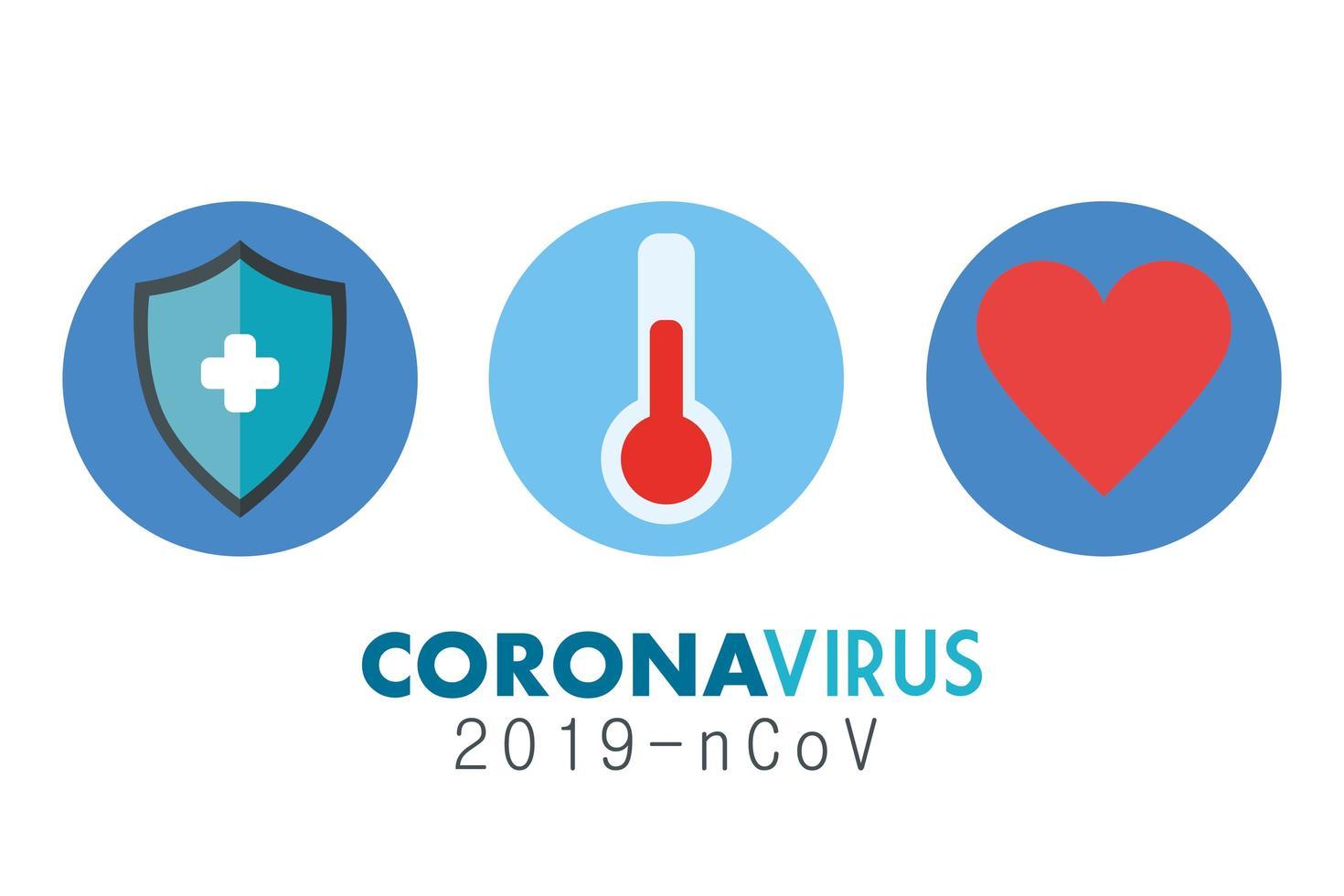 bannière médicale coronavirus avec icônes vecteur