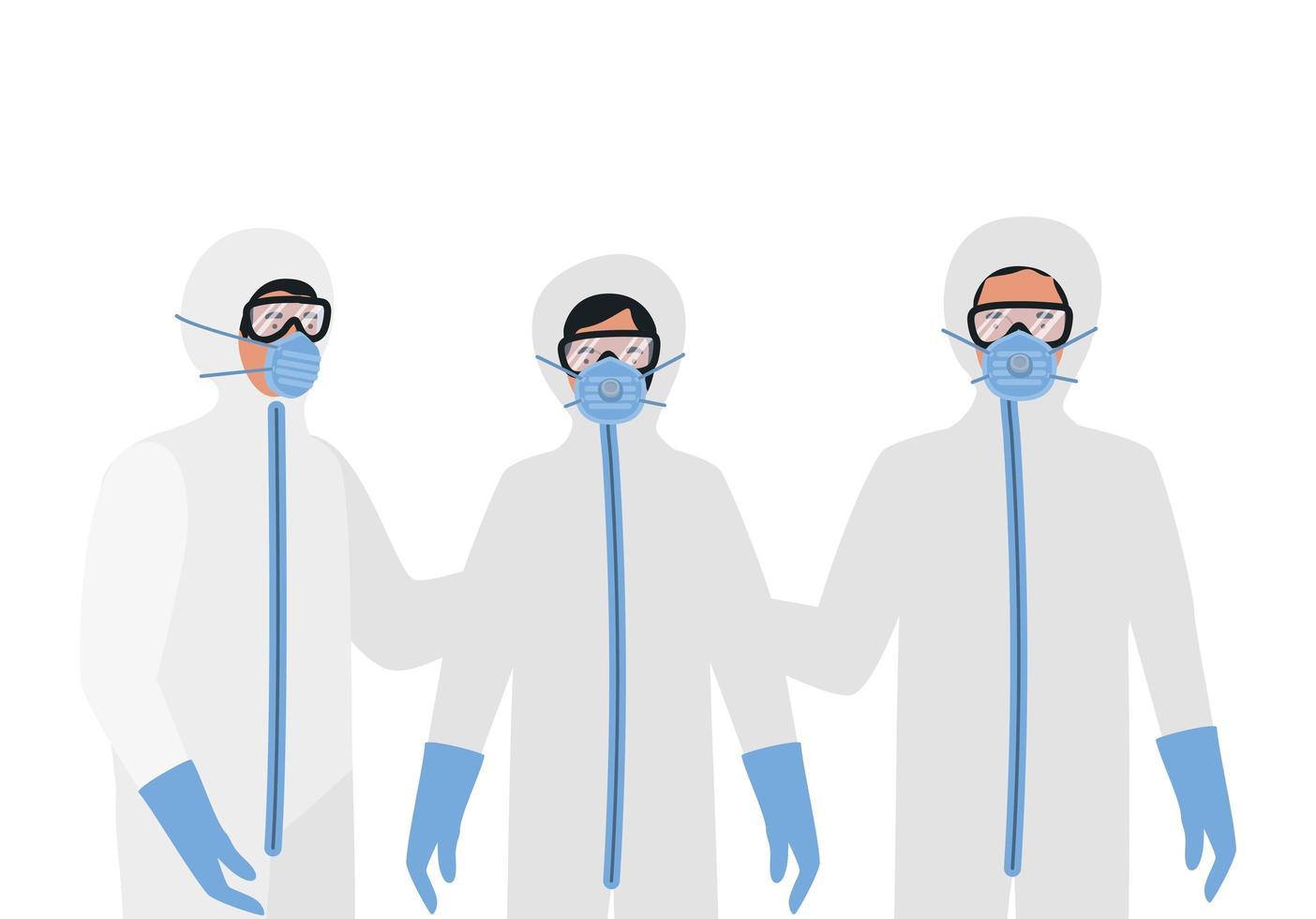 médecins avec des lunettes de protection et des masques vecteur