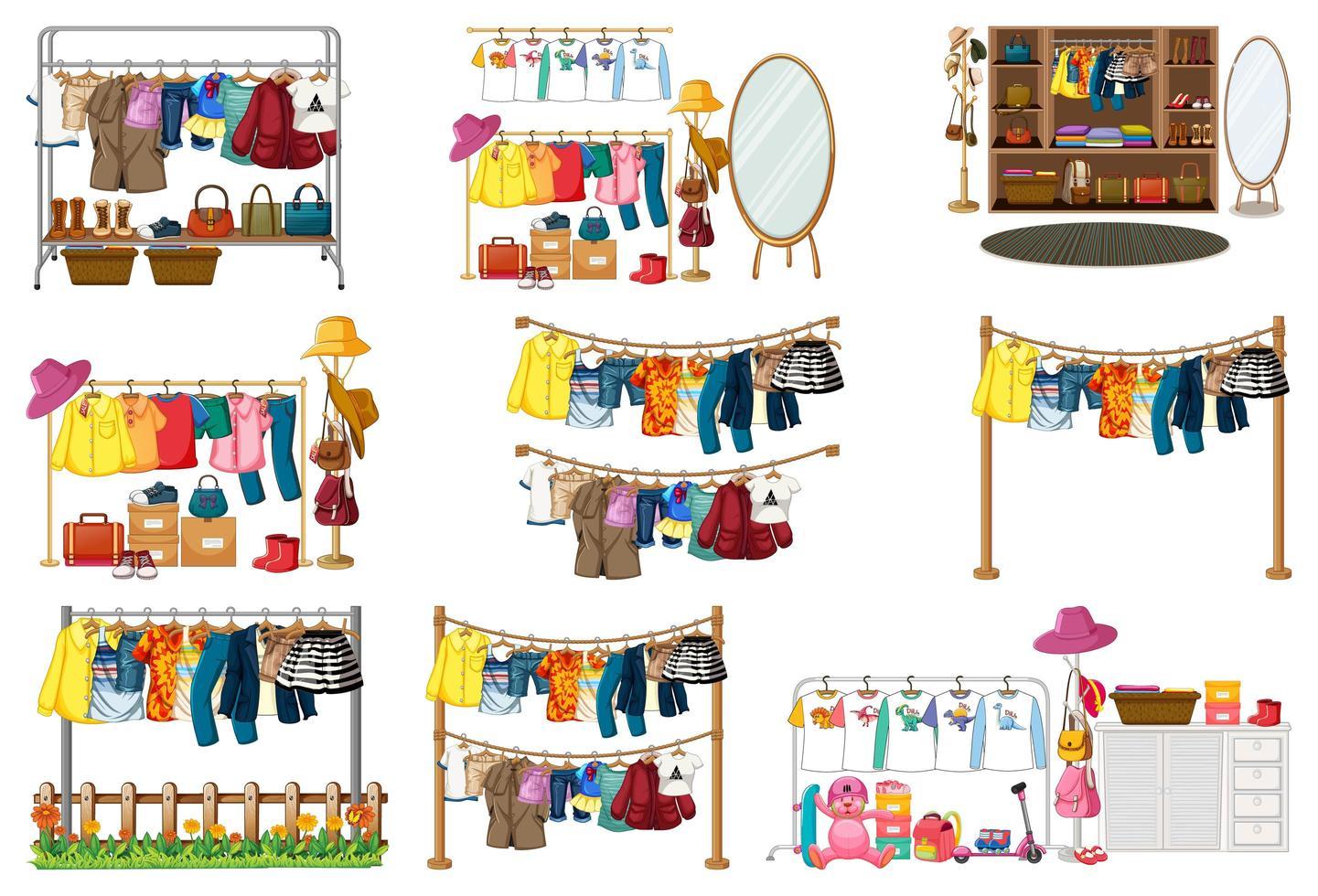 ensemble de vêtements, accessoires et garde-robe vecteur