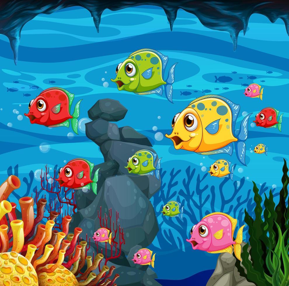 de nombreux personnages de dessins animés de poissons exotiques vecteur