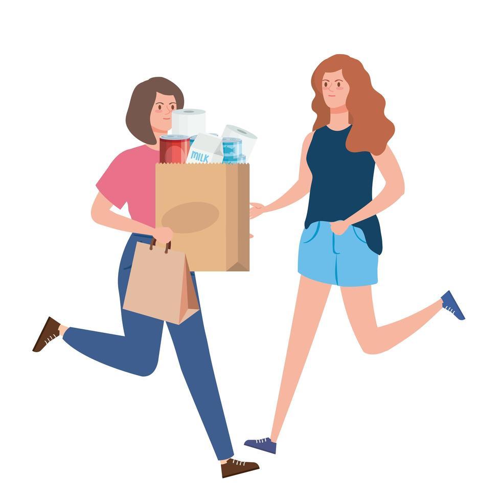 femmes thésaurisation de produits d'épicerie vecteur
