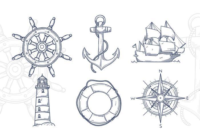 Illustration nautique dessiné à la main vecteur