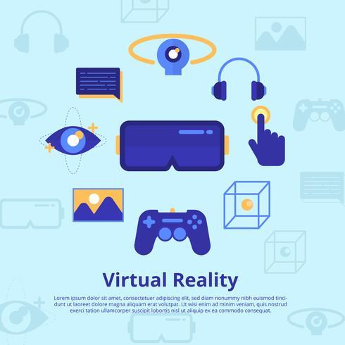 Illustration vectorielle expérience de réalité virtuelle vecteur