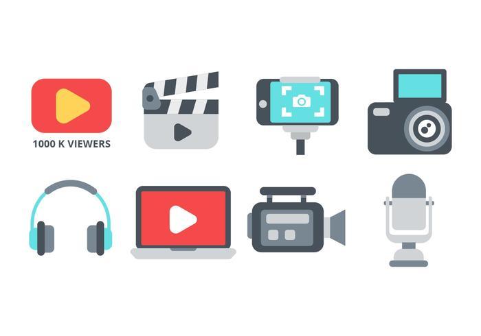 Vecteur gratuit d'icônes de créateur de contenu