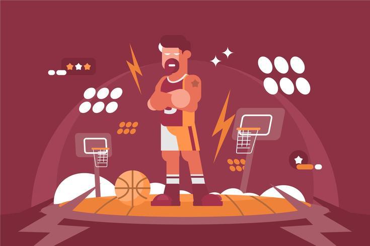 Illustration de joueur de basket-ball exagérée vecteur