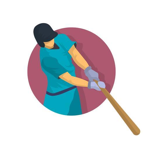Illustration vectorielle de joueur de baseball Vintage plat vecteur