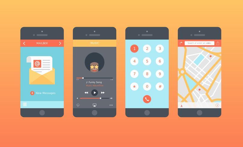Ensemble de Gui de vecteur Mobile App
