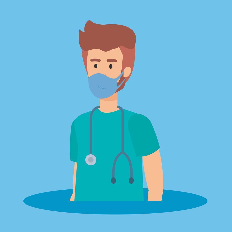 ambulancier avec masque facial vecteur