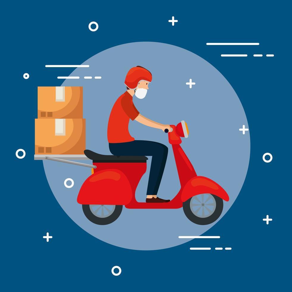 courrier de moto avec masque facial vecteur