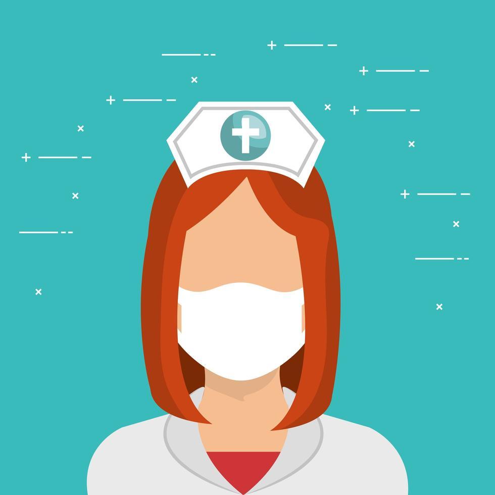 infirmière avec un personnage avatar masque facial vecteur