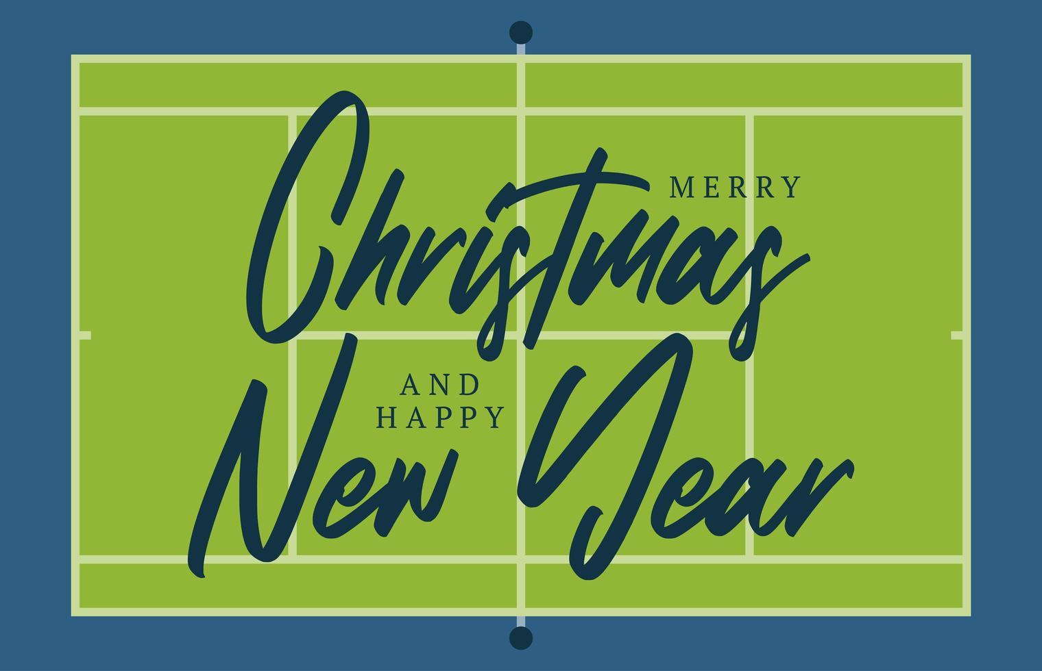 Noël et nouvel an carte de voeux de terrain de tennis avec lettrage. fond de terrain de tennis créatif pour la célébration de Noël et du nouvel an. carte de voeux de sport vecteur