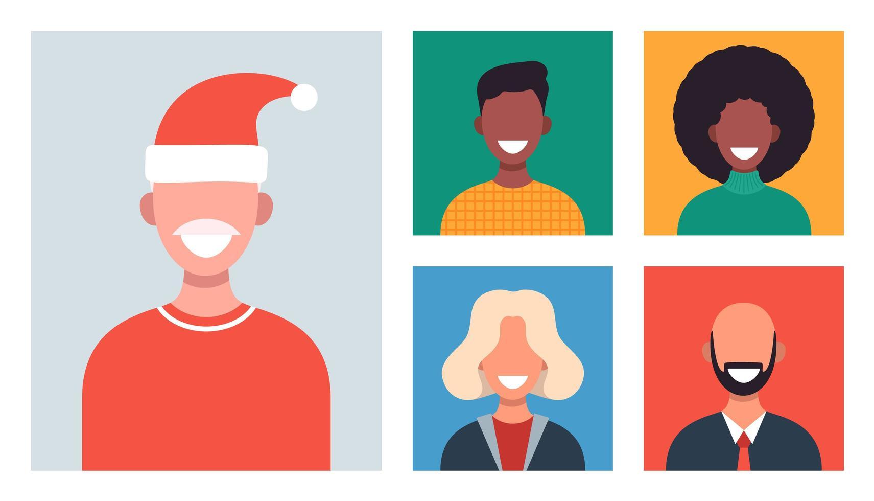 fenêtres Web avec différentes personnes discutant par vidéoconférence. des hommes et des femmes souriants travaillent et communiquent à distance. réunion de famille ou d'amis de Noël en ligne. illustration vectorielle au design plat vecteur