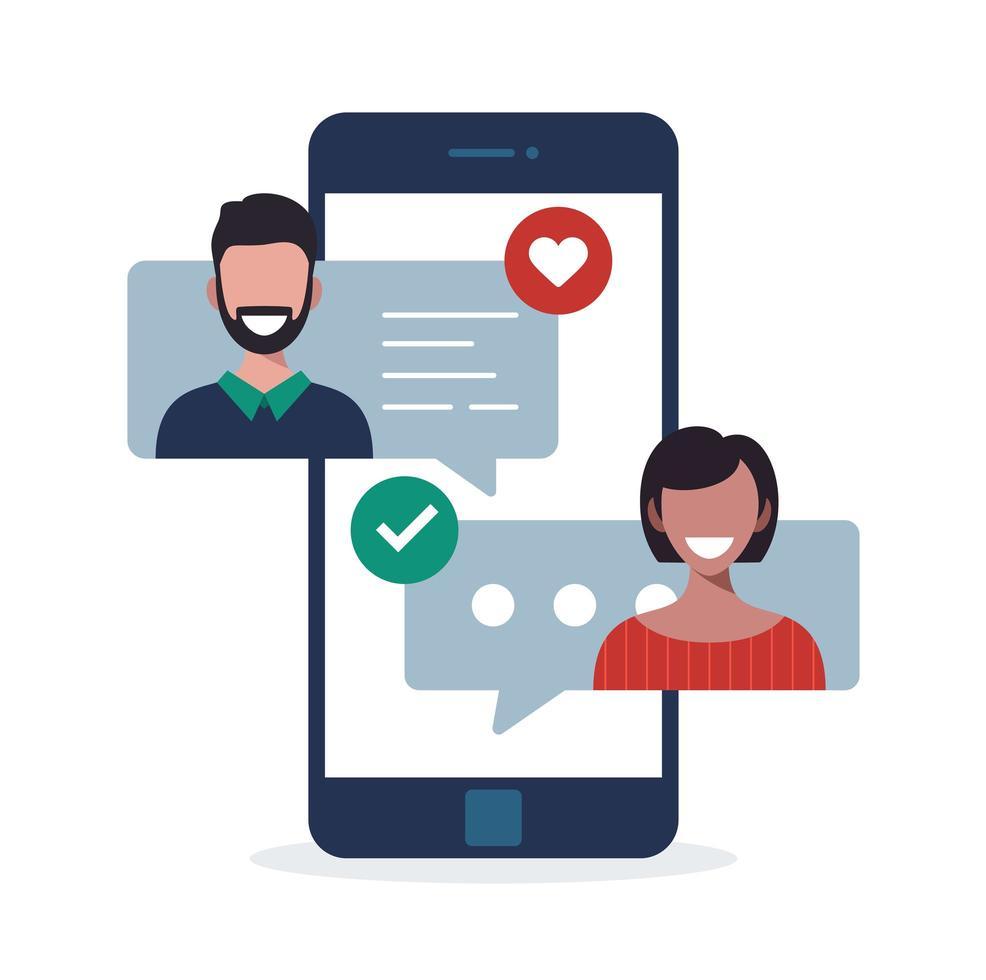 concept d'application de rencontres en ligne avec homme et femme. illustration vectorielle plane relation multiculturelle avec femme et homme discutant sur l'écran du téléphone. vecteur