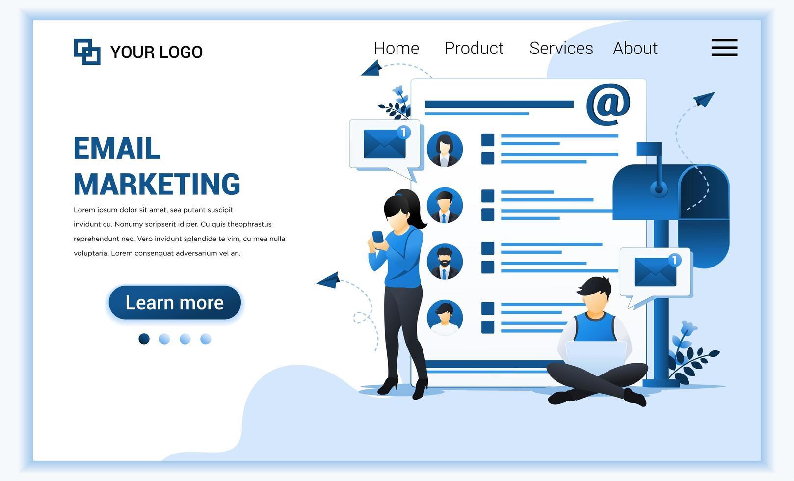 modèle de page de destination de marketing par e-mail, services de messagerie avec caractères. concept de conception de page Web plat moderne pour site Web et site Web mobile. illustration vectorielle vecteur