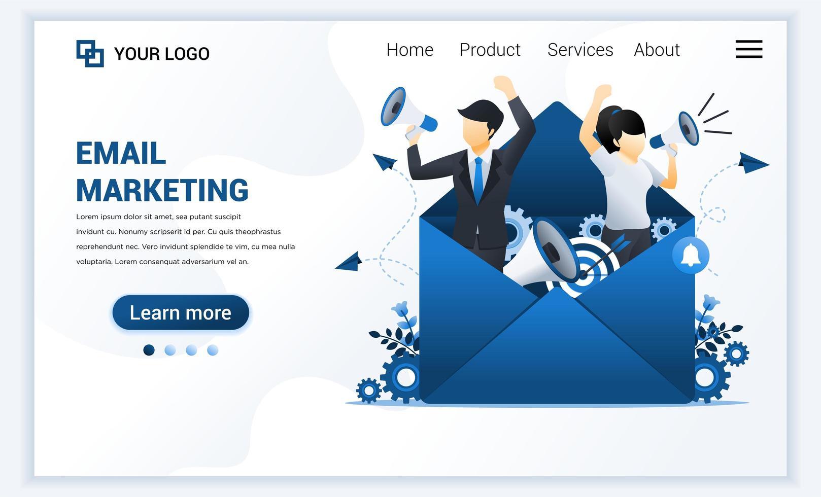 modèle de page de destination des services de marketing par e-mail avec un homme d'affaires criant sur un mégaphone pour la promotion. concept de conception de page Web plat moderne pour site Web et site Web mobile. illustration vectorielle vecteur