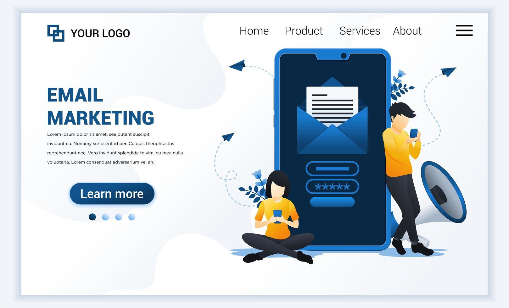 modèle de page de destination des services de marketing par e-mail avec des personnes assises et debout près d'un smartphone géant. concept de conception de page Web plat moderne pour site Web et site Web mobile. illustration vectorielle vecteur