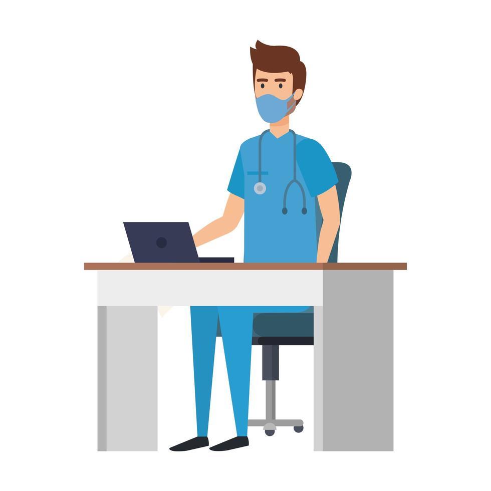 infirmière sur le bureau portant un masque facial vecteur