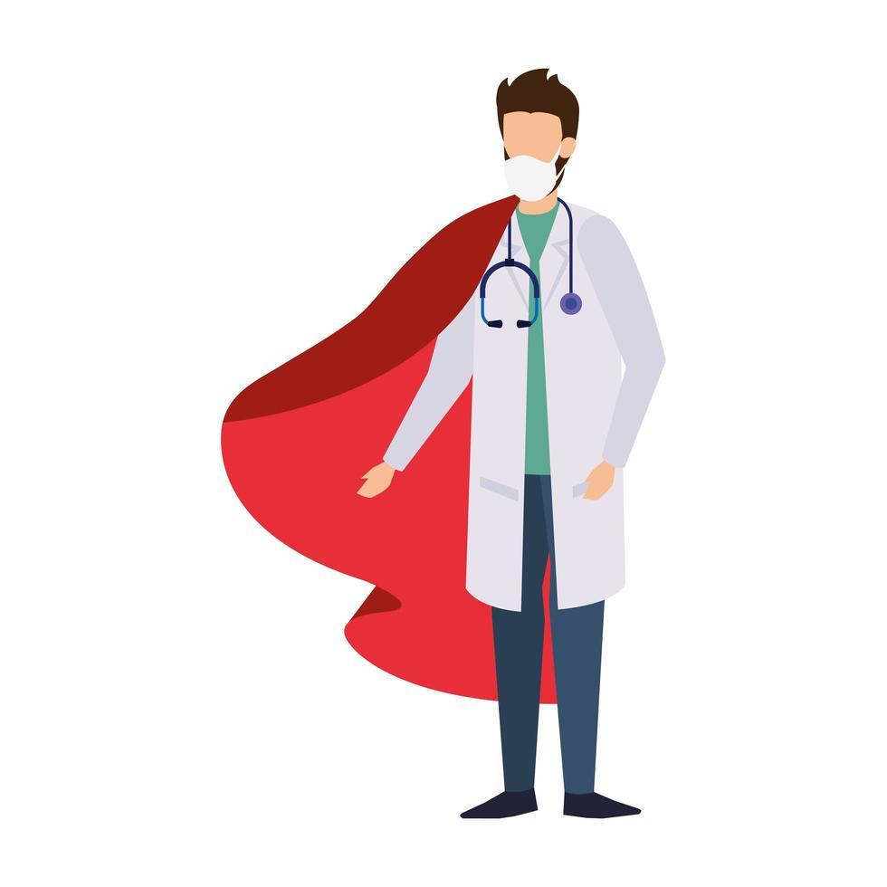médecin de sexe masculin portant un masque facial en tant que super héros vecteur