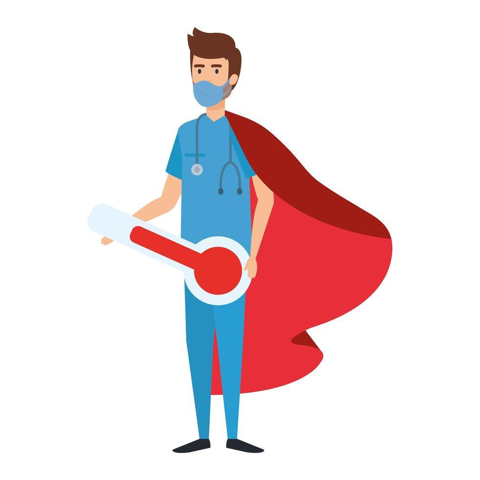 ambulancier masculin portant un masque facial en tant que super héros vecteur