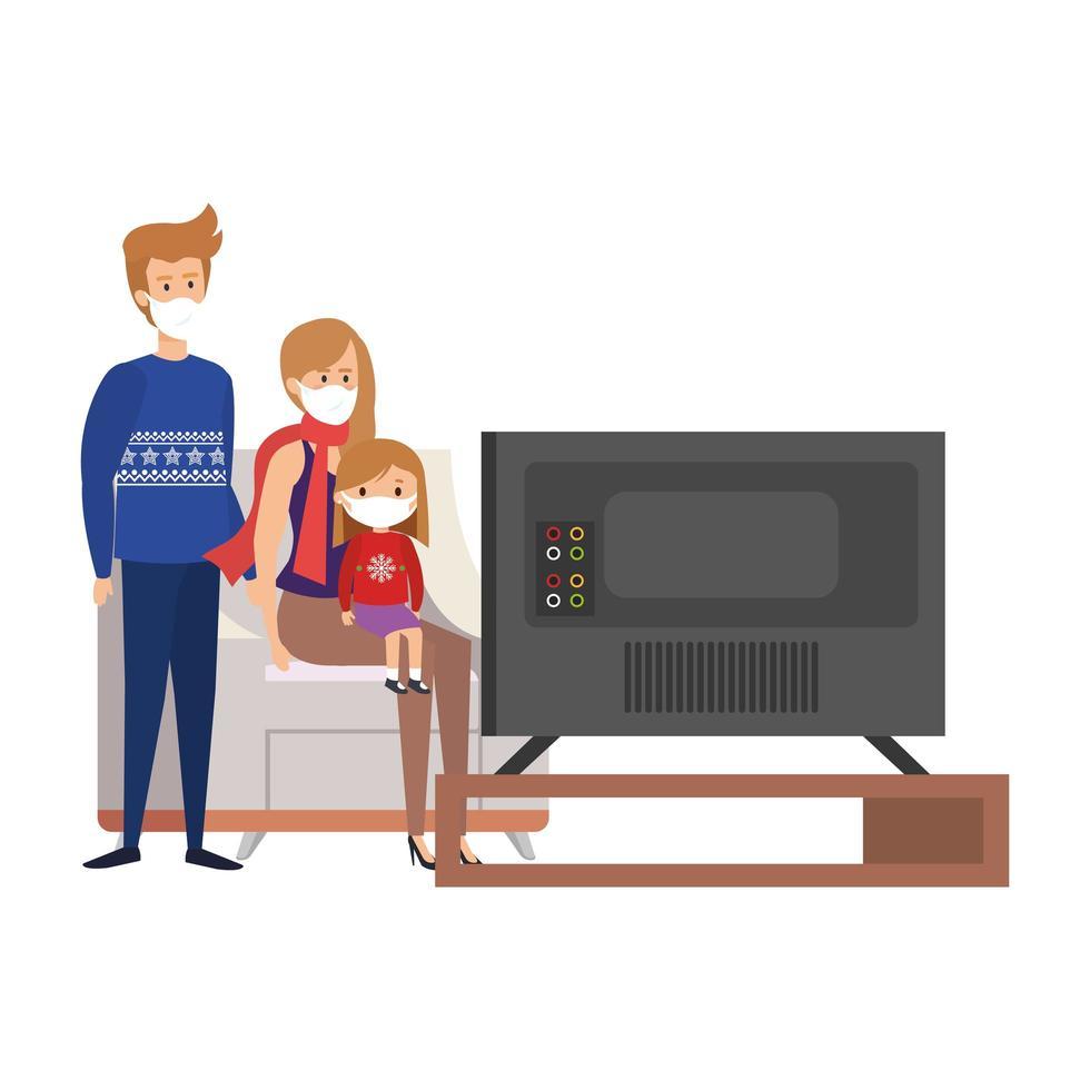 campagne rester à la maison avec la famille devant la télé vecteur
