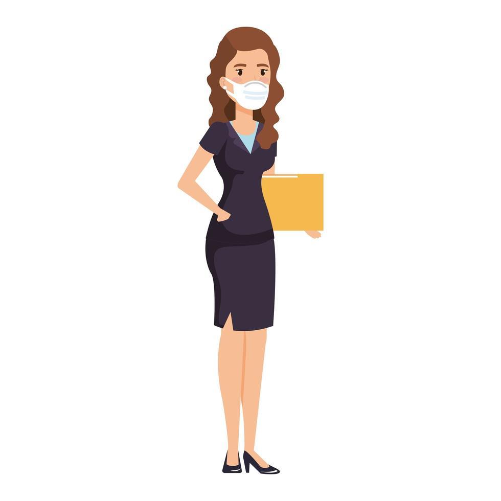 femme d & # 39; affaires avec dossier et masque isolé icône vecteur