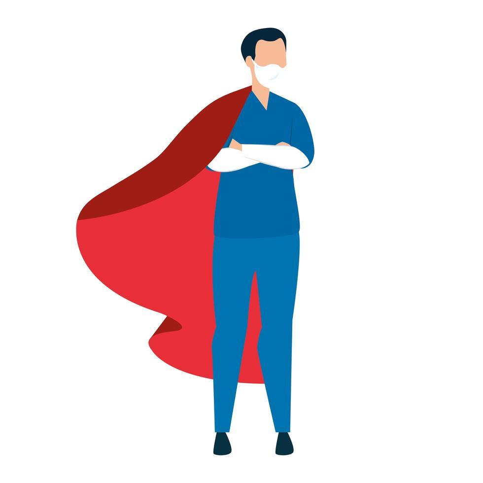 Infirmière portant un masque facial en tant que super héros vecteur