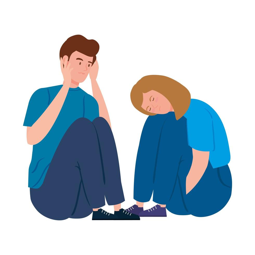 jeune couple déprimé et stressé vecteur