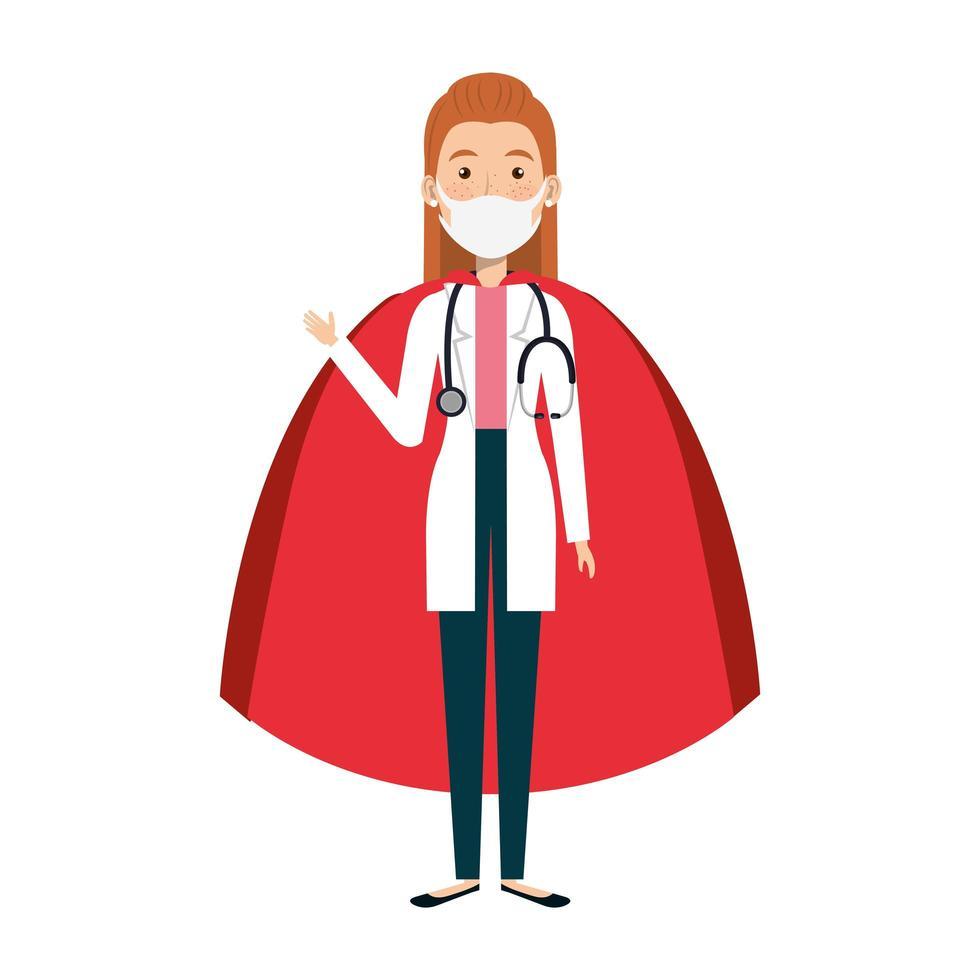 femme médecin portant un masque facial en super héroïne vecteur