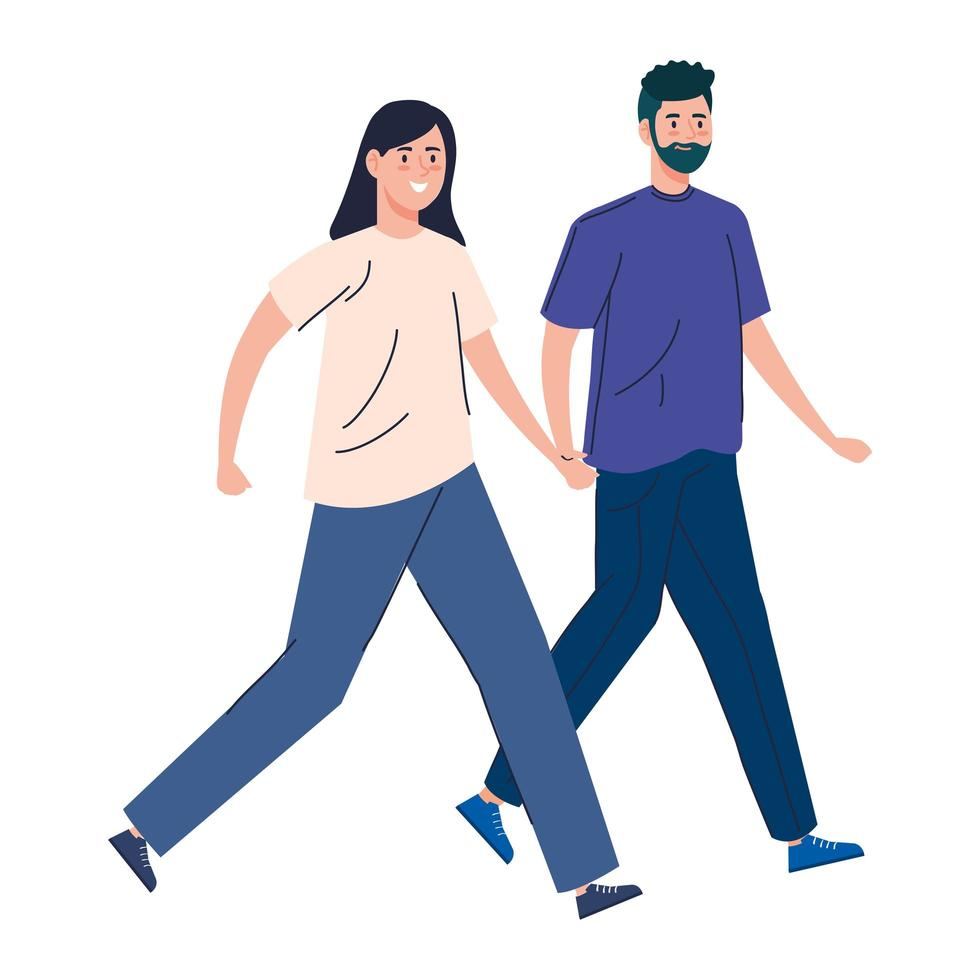jeune couple marchant ensemble vecteur