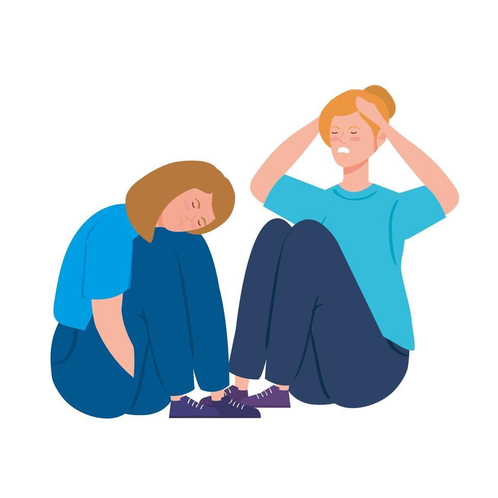 jeunes femmes déprimées et stressées vecteur