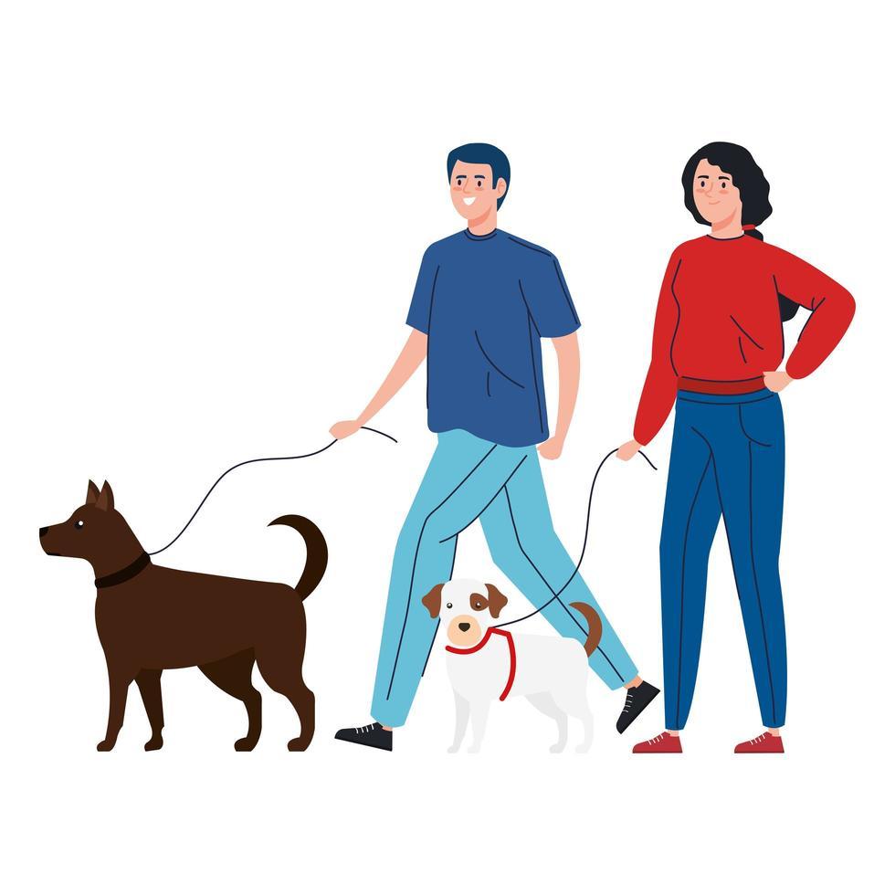 couple promener leurs chiens ensemble vecteur