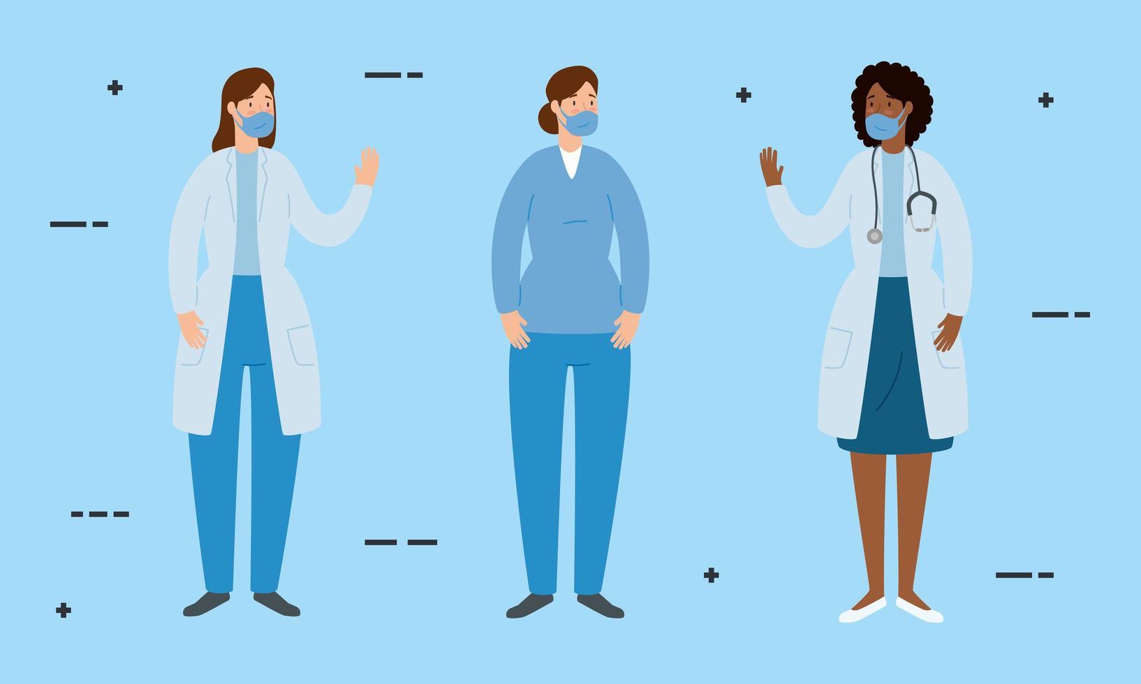Groupe de médecins avec des ambulanciers portant des masques faciaux vecteur