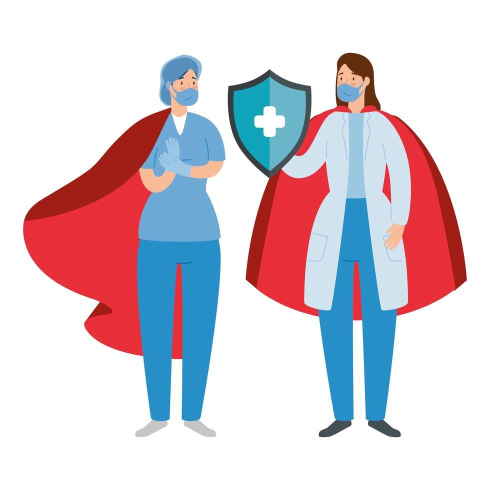 les travailleurs de la santé en tant que super héros vecteur