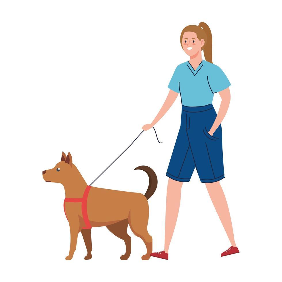 femme qui promène le chien vecteur
