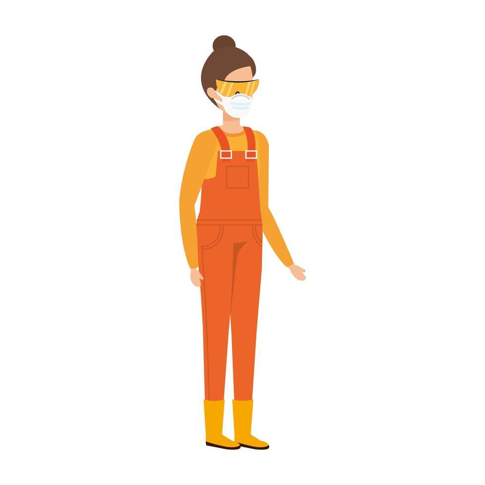 jeune femme, à, salopette, uniforme, et, a, masque facial vecteur