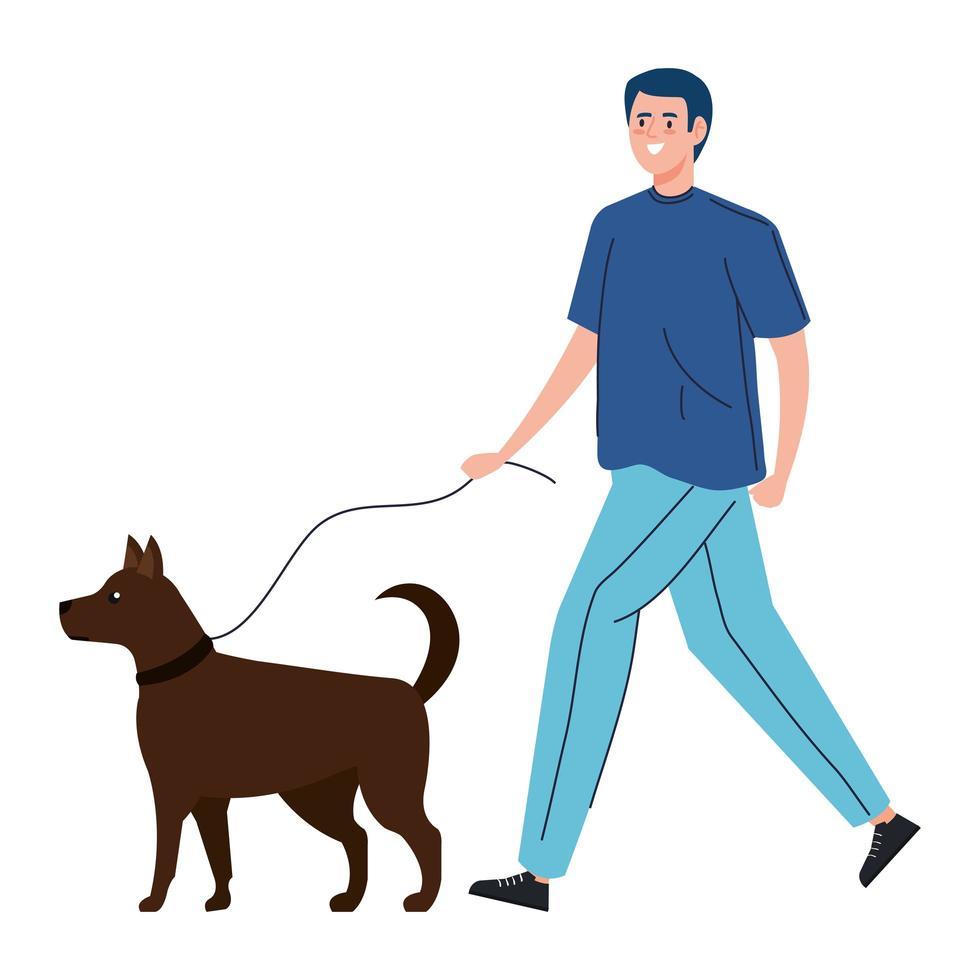 homme qui promène le chien vecteur