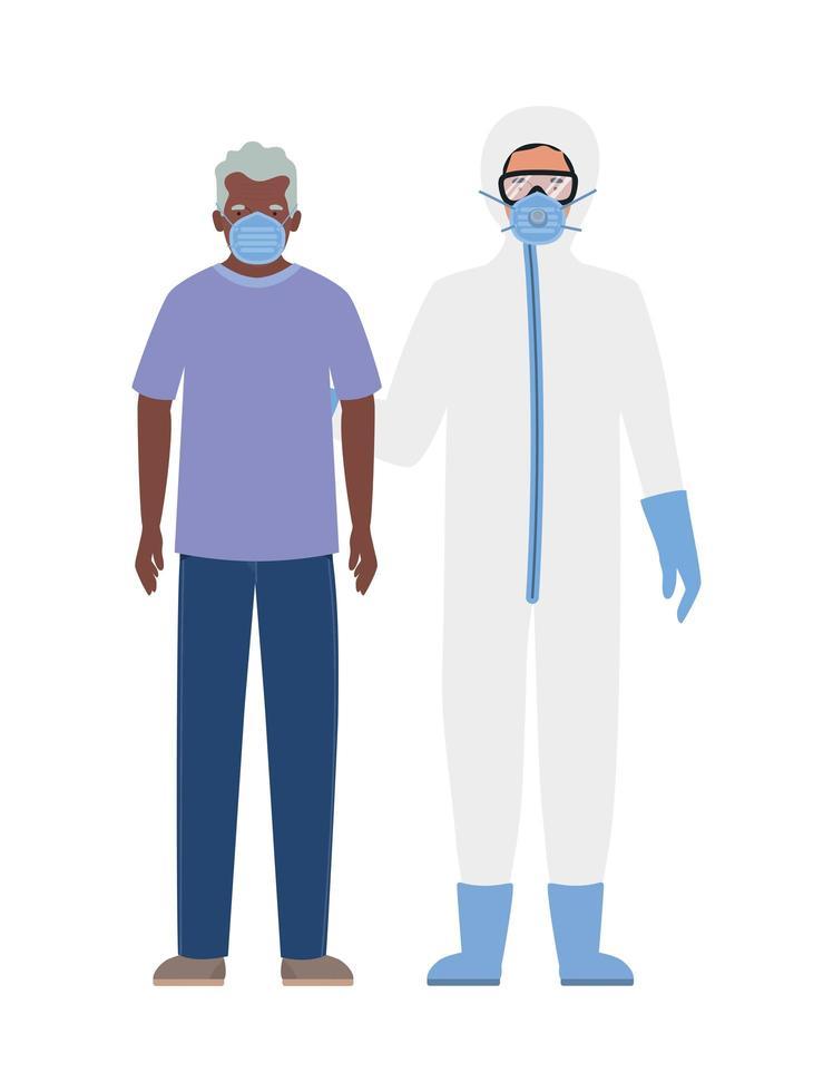 homme âgé avec masque et médecin avec combinaison de protection contre la conception de covid 19 vecteur