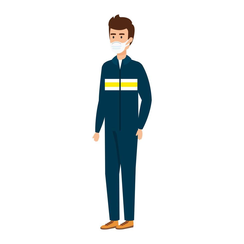 jeune homme avec un uniforme de salopette et un masque facial vecteur