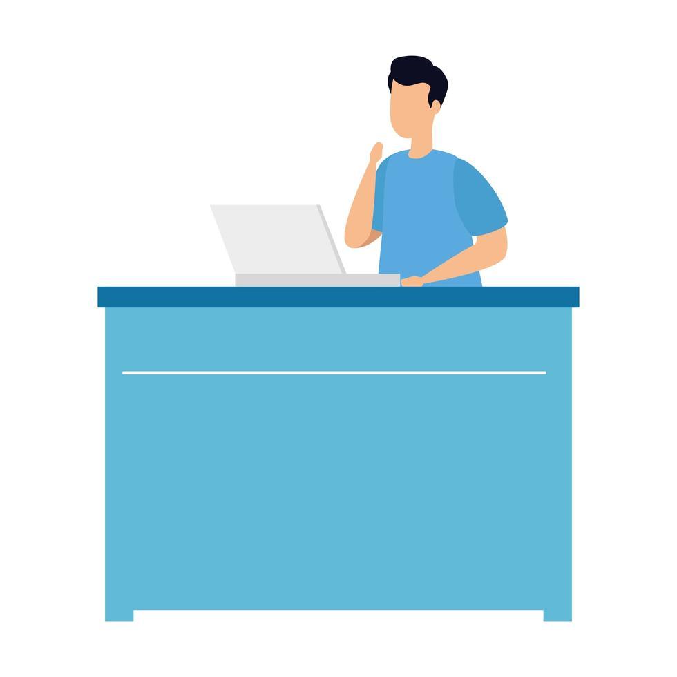 jeune homme, à, ordinateur portable, isolé, icône vecteur